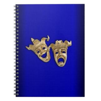 Cobalt de masques de théâtre de comédie et de carnet