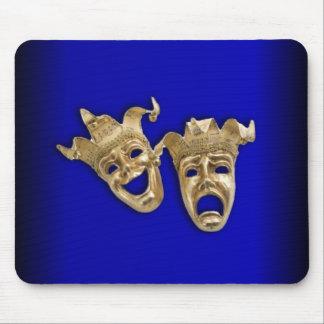 Cobalt de masques de théâtre de comédie et de tapis de souris