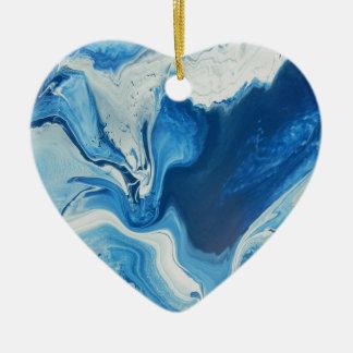 Cobalt Ornement Cœur En Céramique