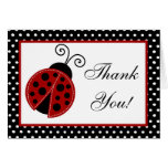 Coccinelle pliée de rouge de carte de remerciement