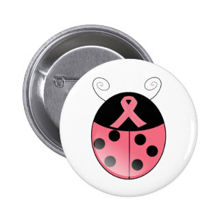 Coccinelle rose badge rond 5 cm
