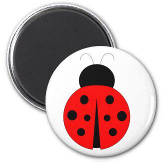 Coccinelle rouge et noire magnet rond 8 cm