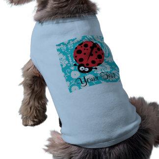 Coccinelle turquoise de motif de damassé t-shirt pour chien