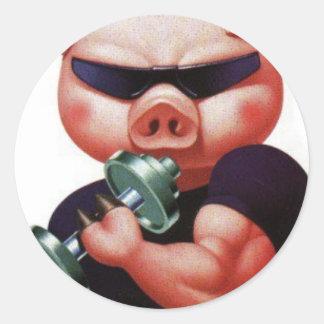 cochon sportif sticker rond