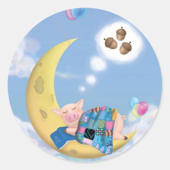 Cochon sur lune - Autocollant