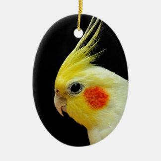 Cockatiel de Lutino Ornement Ovale En Céramique