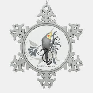 Cockatiel gris ornement flocon de neige pewter