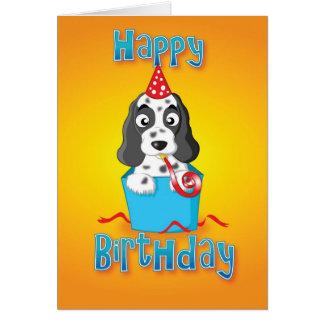 cocker - boîte - joyeux anniversaire carte de vœux