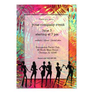 Cocktail abstrait tropical carton d'invitation  12,7 cm x 17,78 cm