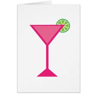 Cocktail rose avec la chaux carte de vœux