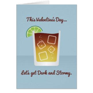 Cocktail Valentine : Obtenons foncés et orageux Carte De Vœux