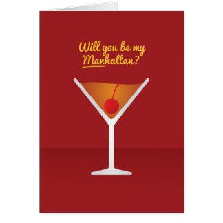 Cocktail Valentine : Serez-vous ma Manhattan ? Carte De Vœux