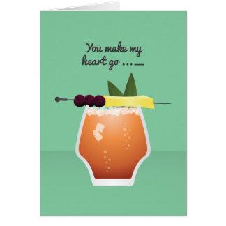 Cocktail Valentine : Vous faites mon coeur aller… Carte De Vœux