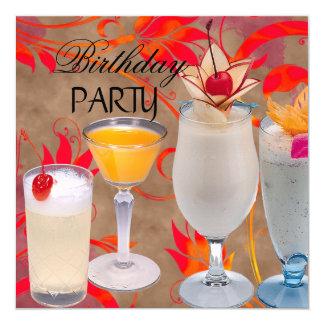 Cocktails de fête d'anniversaire d'été tropicaux carton d'invitation  13,33 cm