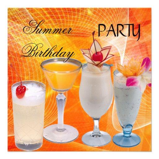 Cocktails de fête d'anniversaire d'été tropicaux invitations