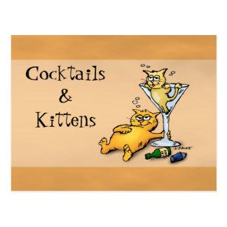 Cocktails et carte postale de bande dessinée d'or