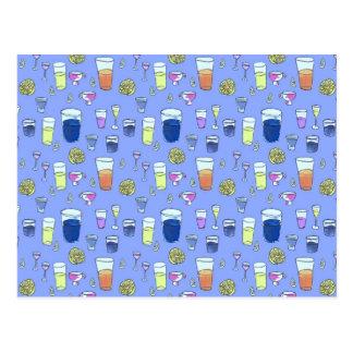 Cocktails sur la carte postale bleue