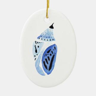 Cocon bleu de papillon ornement ovale en céramique