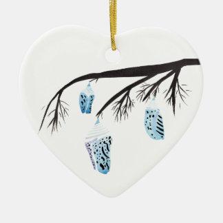 Cocons bleu-clair ornement cœur en céramique