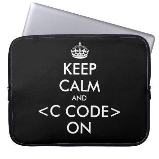 Code de KeepCalm et de c sur l'humour de geek de l Trousse Pour Ordinateur Portable