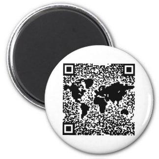 Code de QR - le monde Magnet Rond 8 Cm