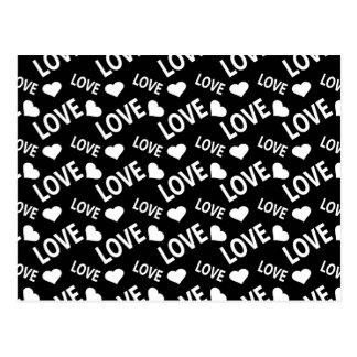 Coeur 1 d'amour noir et blanc carte postale