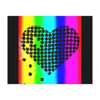 Coeur 2 de puzzle d'arc-en-ciel impressions sur toile