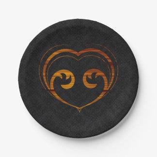 Coeur abstrait de Steampunk Assiettes En Papier