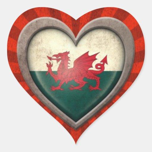 Coeur âgé de drapeau de Gallois avec les rayons lé Autocollants