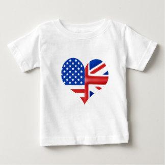 Coeur américain britannique t-shirt pour bébé
