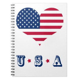 Coeur américain des Etats-Unis de drapeau de Carnet