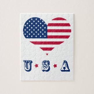 Coeur américain des Etats-Unis de drapeau de Puzzles
