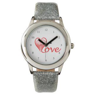 Coeur amour Dartscheibe avec la flèche Montres Bracelet