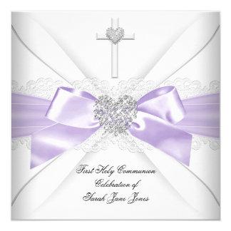 Coeur argenté blanc lilas de première sainte carton d'invitation  13,33 cm