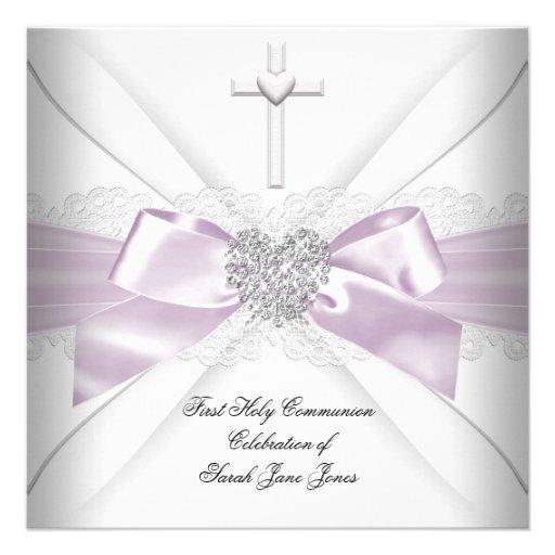 Coeur argenté blanc rose de première sainte commun cartons d'invitation