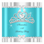 Coeur argenté bleu turquoise de diadème de scintil invitations personnalisables
