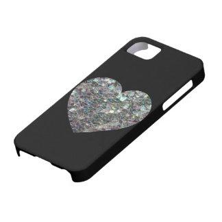 Coeur argenté coloré scintillant personnalisable coques iPhone 5 Case-Mate