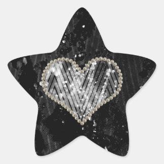 Coeur argenté de perle sticker étoile