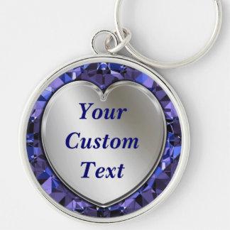 Coeur argenté et porte - clé bleu de prime de porte-clé rond argenté