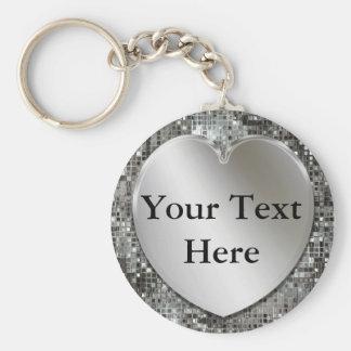 Coeur argenté pour personnaliser le porte - clé porte-clé rond