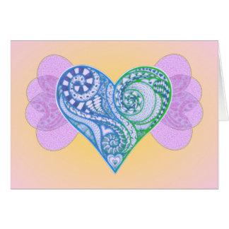 Coeur assez bleu d'embrouillement de zen avec des cartes