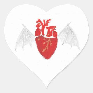 Coeur avec les ailes déchirées en lambeaux sticker cœur