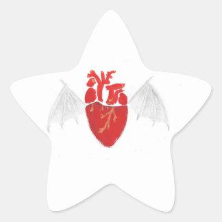 Coeur avec les ailes déchirées en lambeaux sticker étoile