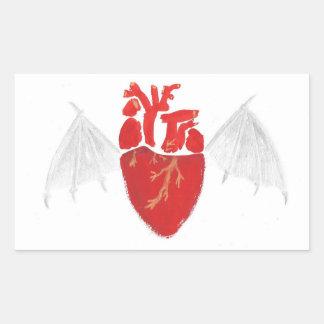 Coeur avec les ailes déchirées en lambeaux sticker rectangulaire