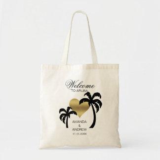 Coeur BIENVENU personnalisé de palmiers de sac de