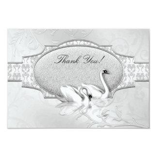 Coeur blanc de cygnes d'argent élégant de mariage carton d'invitation 8,89 cm x 12,70 cm