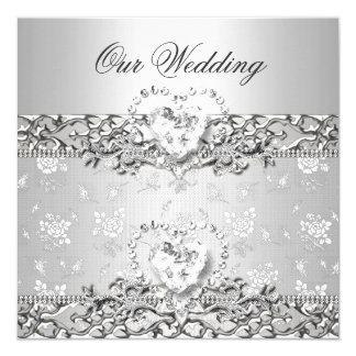 Coeur blanc de diamant d'argent élégant de mariage carton d'invitation  13,33 cm