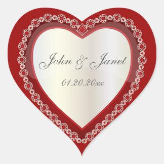 Coeur blanc rouge-foncé brillant de bijou d'amour sticker cœur