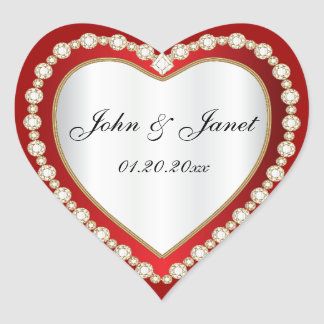 Coeur blanc rouge-foncé de bijou de diamant sticker cœur