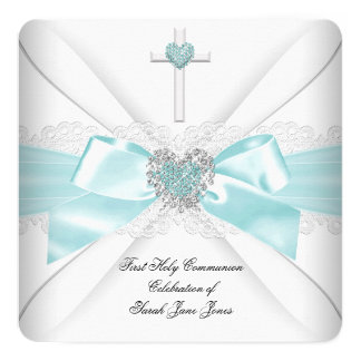Coeur blanc turquoise de première sainte communion carton d'invitation  13,33 cm
